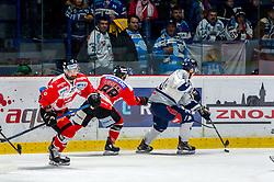 24.11.2019, Ice Rink, Znojmo, CZE, EBEL, HC Orli Znojmo vs Fehervar AV 19, 21. Runde, im Bild v.l. Tomas Svoboda (HC Orli Znojmo) Anthony Luciani (HC Orli Znojmo) Jonathan Harty (Hydro Fehervar AV19) // during the Erste Bank Eishockey League 21th round match between HC Orli Znojmo and Fehervar AV 19 at the Ice Rink in Znojmo, Czechia on 2019/11/24. EXPA Pictures © 2019, PhotoCredit: EXPA/ Rostislav Pfeffer