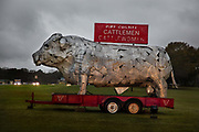 Steel bull In The Entrance To Pike County Cattlemen Park on 5th March 2020 in Troy, Alabama, United States of America.