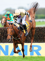 York Hill and Ruby Walsh nearly fall after the last fence during the Ryanair Gold Cup Novice Chase during the Easter Festival at Fairyhouse Racecourse, Co. Meath, Ireland.