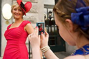 Assumpta Shannon from Loughrea and her goddaughter Roisin Hora from Kildare at Hotel Meyrick in Eyre Sq. Galway for their best dressed Lady Competition during Galway's Race week . Photo:Andrew Downes..