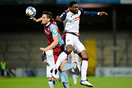 Bolton Wanderers Ricardo Santos (5) Scunthorpe United Ryan Loft (9) battles for possession during the EFL Sky Bet League 2 match between Scunthorpe United and Bolton Wanderers at the Sands Venue Stadium, Scunthorpe, England on 24 November 2020.