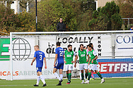 A fan watches the match from outside the stadium during the Betfred Scottish League Cup match between Cove Rangers and Hibernian at Balmoral Stadium, Aberdeen, Scotland on 10 October 2020.