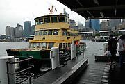 Sydney Harbour Ferry at Pyrmont Bay jetty, Sydney, Australia