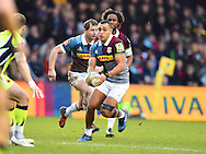 Quinn player Joe Marchant looks for space in the first half during the Aviva Premiership match between Harlequins and Sale Sharks at Twickenham Stoop, Twickenham, United Kingdom on 7 January 2017. Photo by Ian  Muir.during the Aviva Premiership match between Harlequins and Sale Sharks at Twickenham Stoop, Twickenham, United Kingdom on 7 January 2017. Photo by Ian  Muir.