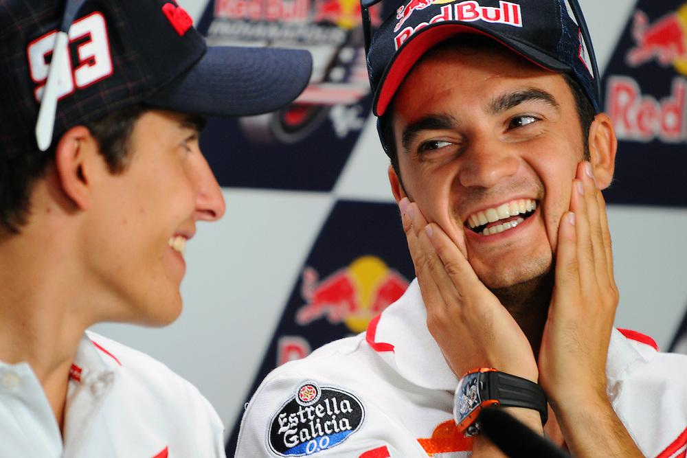 Repsol Honda riders Marc Marquez and Dani Pedrosa at the 2013 Red Bull Indianapolis Moto Grand Prix at Indianapolis Motor Speedway.