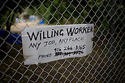A sign posted by a homeless man is all that is left at the safe ground campground after Sacramento police arrested 15 homeless campers on September 12, 2009. This is the second misdemeanor camping arrest for some of the homeless as attorney Mark Merin battle out the rights of the homeless to camp on private property.