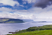 Panoramic view across Loch Na Keal loch on Isle of Mull to the sea in the  Inner Hebrides and Western Isles in West Coast of Scotland