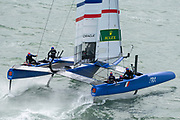 SailGP Team France practice before the start of practice racing. Event 4 Season 1 SailGP event in Cowes, Isle of Wight, England, United Kingdom. 8 August 2019: Photo Chris Cameron for SailGP. Handout image supplied by SailGP