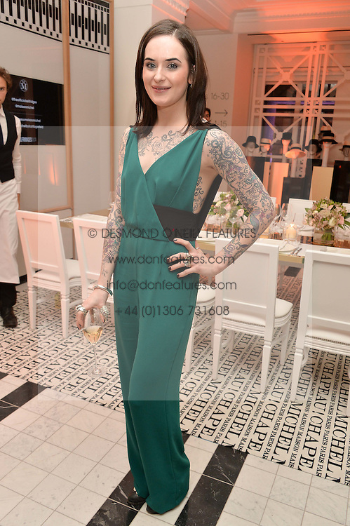 JESSICA MOLONEY at a dinner to celebrate the exclusive Capsule collection: Maison Michel by Karl Lagerfeld held at Selfridges, 400 Oxford Street, London on 23rd February 2015.