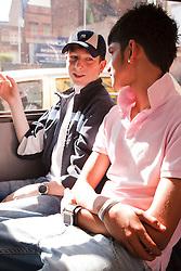 Teenage boys on a bus.