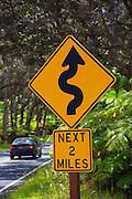 Curved Road Sign, Kilauea Volcano, HVNP, Hawaii Volcanoes National Park, The Big Island of Hawaii