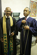 New York, NY- July 20: (L-R) Rev. Dr. James Forbes, Senior Minister Emeritus of the Riverside Church,and Rev. Al Sharpton, Founder & President, National Action Network attends the preaching of ' God is Here ' a sermon preached by Rev. Al Sharpton held at the historic Riverside Church on July 20, 2014 in New York City.  (Terrence Jennings)