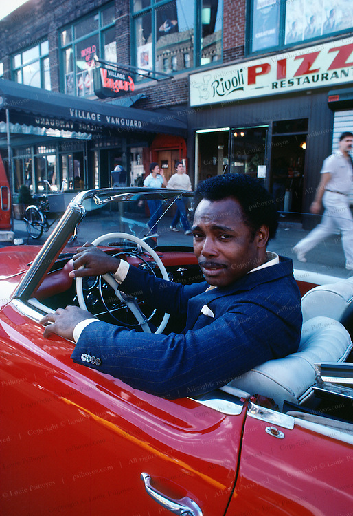 George Benson, guitarist and singer in front of the Villiage Vangard Jazz Club in New York City.