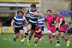Ollie Devoto of Bath Rugby takes on the London Welsh defence - Photo mandatory by-line: Patrick Khachfe/JMP - Mobile: 07966 386802 01/11/2014 - SPORT - RUGBY UNION - Bath - The Recreation Ground - Bath Rugby v London Welsh - LV= Cup