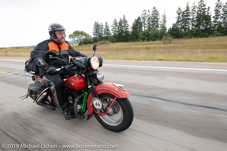 Matt Miller riding his 1947 Harley-Davidson Model U Flathead in the Cross Country Chase motorcycle endurance run from Sault Sainte Marie, MI to Key West, FL. (for vintage bikes from 1930-1948). Stage 1 from Sault Sainte Marie to Ludington, MI USA. Friday, September 6, 2019. Photography ©2019 Michael Lichter.