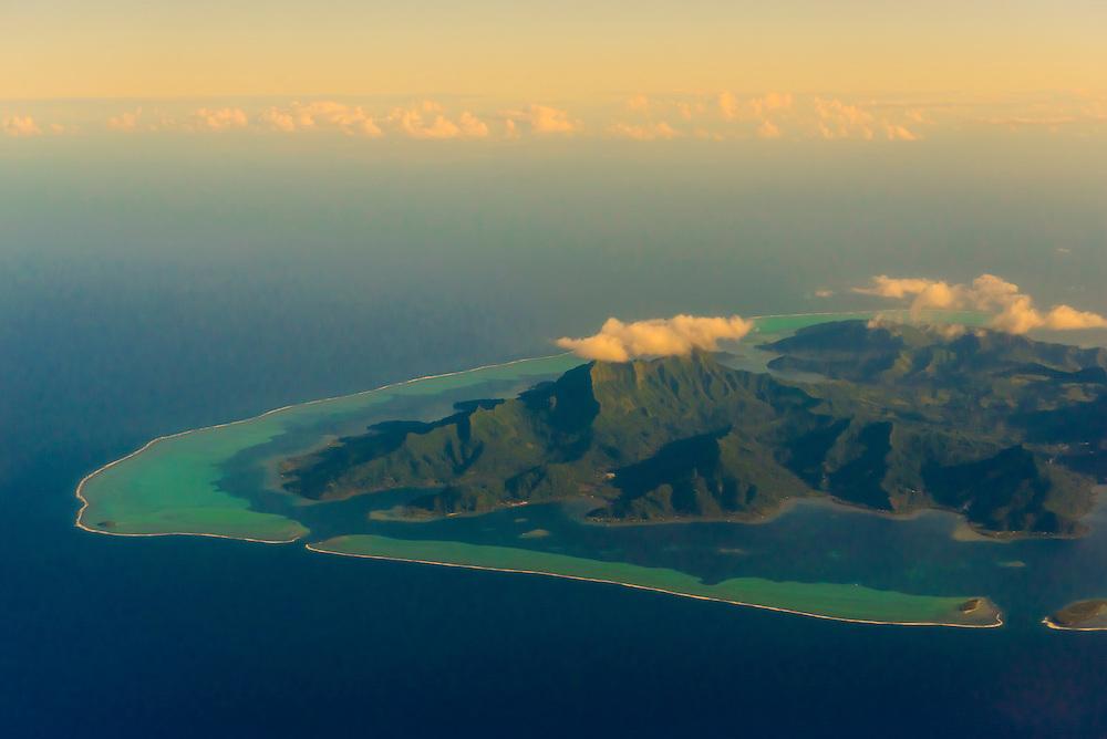 Aerial view, island of Raiatea, French Polynesia.