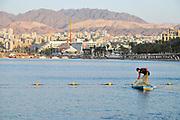 Fisherman fishing in the Red Sea, Eilat, Israel