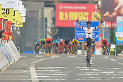 September 14, 2017 - Bazhong City, China - Joseph Cooper from Isowhey Sports Swisswellness team on his way to win the third stage of the 2017 Tour of China 1, the 140.6 km of Pingchang Circuit Race. .On Thursday, 14 September 2017, in Pingchang County, Bazhong City, Sichuan Province, China. (Credit Image: © Artur Widak/NurPhoto via ZUMA Press)