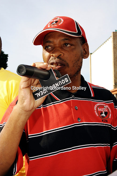 """PIETERMARITZBURG - 25 May 2007 - Sipho """"KK"""" Nkosi, the South African Democratic Teachers Union KwaZulu-Natal provincial secretary addresses the more than 20,000 government workers who staged a protest march in Pitermaritzburg on Friday. Government has offered publice sector workers a 6 percent increase, but the workers are demanding 12 percent and are threatening to go on strike from June 1..Picture: Giordano Stolley/Allied Picture Press"""