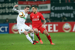 18.02.2016, WWKArena, Augsburg, GER, UEFA EL, FC Augsburg vs FC Liverpool, Sechzehntelfinale, Hinspiel, im Bild Paul Verhaegh ( FC Augsburg ) rechts Coutinho ( FC Liverpool ) // during the UEFA Europa League Round of 32, 1st Leg match between FC Augsburg and FC Liverpool at the WWKArena in Augsburg, Germany on 2016/02/18. EXPA Pictures © 2016, PhotoCredit: EXPA/ Eibner-Pressefoto/ Langer<br /> <br /> *****ATTENTION - OUT of GER*****