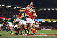 Justin Tipuric of Wales (7) celebrates with his teammates inc Dan Biggar (top) after he scores his teams 2nd try. Under Armour 2016 series international rugby, Wales v South Africa at the Principality Stadium in Cardiff , South Wales on Saturday 26th November 2016. pic by Andrew Orchard, Andrew Orchard sports photography