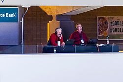 NORMAL, IL - February 27: Mike Mathews and Greg Halblieb make the calls for a radio broadcast during a college basketball game between the ISU Redbirds and the Northern Iowa Panthers on February 27 2021 at Redbird Arena in Normal, IL. (Photo by Alan Look)
