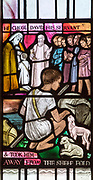 David as a boy shepherd, stained glass window by Margaret Edith Aldrich Rope ( 1891-1988), Church of Saint Margaret, Leiston, Suffolk, England, UK