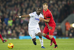 Halbfinale im Liga-Pokal Liverpool vs Leeds 1:0 in Liverpool / 291116<br /> <br /> ***LIVERPOOL, ENGLAND 29TH NOVEMBER 2016:<br /> Leeds United forward Souleymane Doukara left keeps the ball from Liverpool defender Ragnar Klavan during the English League Cup soccer match between Liverpool and Leeds at Anfield Stadium in Liverpool England November 29th 2016***