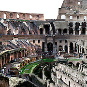 A panoramic view of the interior of The Colosseum, an elliptical amphitheatre in the centre of the city of Rome, Italy, the largest ever built in the Roman Empire. It is considered one of the greatest works of Roman architecture and Roman engineering. Rome, Italy. 23rd July 2011. Photo Tim Clayton