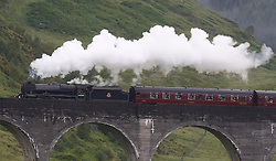 """Also known as the """"Hogwarts Express"""" the Jacobite steam train operates between Fort William and Mallaig on what is often described as the greatest railway journey in the world. Here the Jacobite steam train is seen crossing the Glenfinnan viaduct.  (c) Stephen Lawson   Edinburgh Elite media"""