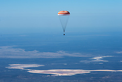 The Soyuz MS-15 spacecraft is seen as it lands in a remote area near the town of Zhezkazgan, Kazakhstan with Expedition 62 crew members Jessica Meir and Drew Morgan of NASA, and Oleg Skripochka of Roscosmos, Friday, April 17, 2020. Meir and Skripochka returned after 205 days in space, and Morgan after 272 days in space. All three served as Expedition 60-61-62 crew members onboard the International Space Station.<br /> <br /> Where: Zhezkazgan, Kazakhstan<br /> When: 17 Apr 2020<br /> Credit: NASA/GCTC/Andrey Shelepin/Cover Images<br /> <br /> **Editorial use only**