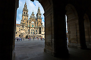 Facade do Obradoiro of the Baroque style Roman Catholic cathedral, Catedral de Santiago de Compostela, Galicia, Spain