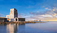 Pictures and images of the Torre San Teodoro (St Teodoro Tower) defensive fortification at the entrance to the Saline della Laguna salt pans, Isole dello Stagnone di Masala, Masala, Sicily .<br /> <br /> Visit our SICILY PHOTO COLLECTIONS for more   photos  to download or buy as prints https://funkystock.photoshelter.com/gallery-collection/2b-Pictures-Images-of-Sicily-Photos-of-Sicilian-Historic-Landmark-Sites/C0000qAkj8TXCzro<br /> If you prefer to buy from our ALAMY PHOTO LIBRARY  Collection visit : https://www.alamy.com/portfolio/paul-williams-funkystock/trapanimaslalasaltpans.html