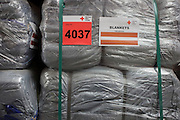 Blankets in emergency supplies warehouse, Deutsches Rotes Kreuz (DRK - German Red Cross) at their logistics centre at Berlin-Schönefeld airport.