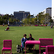 The newly built Grand Park in the Civic Center of Los Angeles across from City Hall.