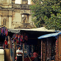 Central America, Guatemala, Antigua. A quiet day for the street market vendors in Antigua, Guatemala.