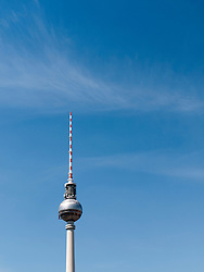 View of TV Tower or Fernsehturm in Mitte district of Berlin Germany