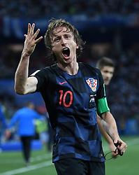 NIZHNY NOVGOROD, June 21, 2018  Luka Modric of Croatia celebrates his scoring during the 2018 FIFA World Cup Group D match between Argentina and Croatia in Nizhny Novgorod, Russia, June 21, 2018. (Credit Image: © Li Ga/Xinhua via ZUMA Wire)