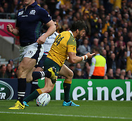Australia's Adam Ashley-Cooper celebrating scoring the first try of the game taking the score 7 - 0 during the Rugby World Cup Quarter Final match between Australia and Scotland at Twickenham, Richmond, United Kingdom on 18 October 2015. Photo by Matthew Redman.