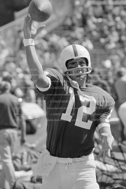 COLLEGE FOOTBALL: Stanford vs Penn State played on September 15, 1973 at Stanford Stadium in Palo Alto, California.  Stanford quarterback Mike Boryla #12 warms up on sideline.  Photograph by David Madison   www.davidmadison.com