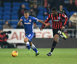 Cardiff City's Lee Peltier and Brighton and Hove Albion's Rohan Ince in action during the Sky Bet Championship match at Cardiff City Stadium on 10 February 2015 in Cardiff, Wales - Photo mandatory by-line: Paul Knight/JMP - Mobile: 07966 386802 - 10/02/2015 - SPORT - Football - Cardiff - Cardiff City Stadium - Cardiff City v Brighton & Hove Albion - Sky Bet Championship