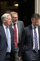 Downing Street, London, May 17th 2016. Defence Secretary Michael Fallon (L) leaves the weekly cabinet meeting in Downing Street with Scotland Secretary David Mundell and Attorney General Jeremy Wright.