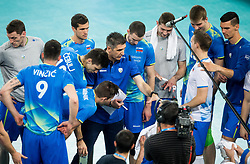 Slobodan Kovac, head coach of Slovenia with players during volleyball match between National teams of Slovenia and Portugal in 2nd Round of 2018 FIVB Volleyball Men's World Championship qualification, on May 26, 2017 in Arena Stozice, Ljubljana, Slovenia. Photo by Vid Ponikvar / Sportida