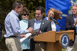 Connecticut Governor Dannel Malloy and DEEP Commissioner Rob Klee speaking at the Groundbreaking Ceremony for the New Meigs Point Nature Center at Hammonasset Beach State Park.
