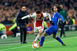 Sergino Dest #28 of Ajax and Marc Cucurella #15 of Getafe in action during the Europa League match R32 second leg between Ajax and Getafe at Johan Cruyff Arena on February 27, 2020 in Amsterdam, Netherlands
