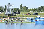 Eton Dorney, Windsor, Great Britain,..2012 London Olympic Regatta, Dorney Lake. Eton Rowing Centre, Berkshire[ Rowing]...Description;  GBR W4X Race start GBR W4X.   10:00:01  Saturday  28/07/2012.[Mandatory Credit: Peter Spurrier/Intersport Images].