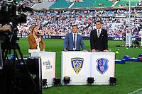 Isabelle Ithurburu / Marc LIEVREMONT / Fabien PELOUS  - 13.06.2015 - Clermont / Stade Francais - Finale Top 14<br />Photo : Nolwenn Le Gouic / Icon Sport