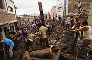 Central America, Honduras, Tegucigalpa. Reconstruction. Devastation in the aftermath of Hurricane Mitch. High winds and flooding. Reconstruction of capital. Infrastructure destroyed.