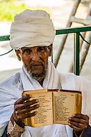 Old  Man praying, Saint Yared Church (Ethiopian Orthodox Church), Axum (Aksum), Ethiopia.