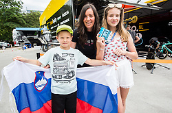 Teja Hauptman with her kids during 5th Time Trial Stage of 25th Tour de Slovenie 2018 cycling race between Trebnje and Novo mesto (25,5 km), on June 17, 2018 in  Slovenia. Photo by Vid Ponikvar / Sportida